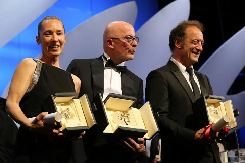 French actress Emmanuelle Bercot French director Jacques Audiard and French actor Vincent Lindon